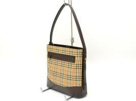 Burberry Canvas Leather Shoulder Hand Bag Plaid