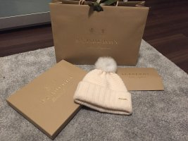 Burberry London Gorro con borla blanco puro