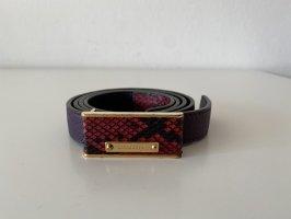 Burberry Cintura di pelle rosso lampone-nero Pelle