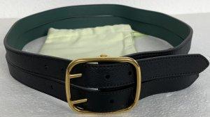 Burberry London, Double Strap Reverse Belt, Schwarz/Grün, Leder, 90 cm, neu, € 600,-