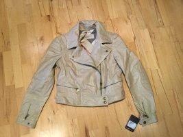Burberry Biker Jacket beige-gold-colored leather