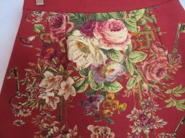 Burgundy Dolce & Gabbana Wollrock mit Seide - Größe S - Floral Gobelinmuster Minirock  - wie neu!
