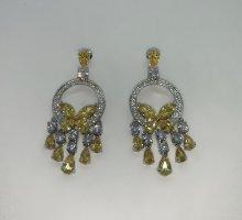 Boucles d'oreille en or argenté-jaune