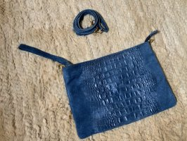 Borsa clutch blu acciaio Pelle