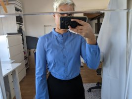 Cacharel Stand-Up Collar Blouse azure