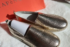 Café Noire Espadrilles Mokassins Model OEM909 echt Leder Gold Snakeoptik NEU