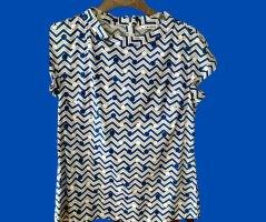 Caliban, Bluse blau-weiß gemustert, Gr. 36