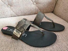 Calvin Klein flip flops sandalen gr. 38 neu khaki grün schwarz schuhe latschen schlappen