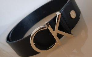 Calvin Klein Skórzany pasek czarny-złoto Skóra