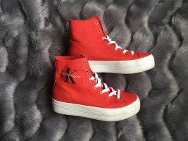 Calvin Klein Platform Plateau Sneaker Schuhe Rot Weiß