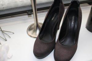 Calvin Klein Platform Pumps dark brown leather