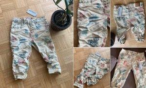 Capri Jeans ITALY - Beige/Color - Größe L 40 - CrashLook - Flower