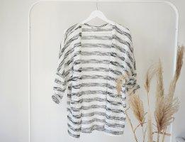 Cardigan Strick leicht luftig Streifen oversized grau weiß Strickjacke Frühling