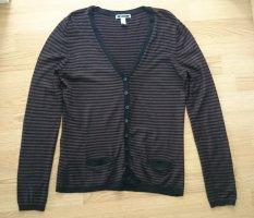 Cardigan Strickweste schwarz braun gestreift von Mango Gr. M/L