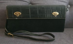 Carlo Colucci, Vintage Tasche, Schwarz, Leder, Koffer