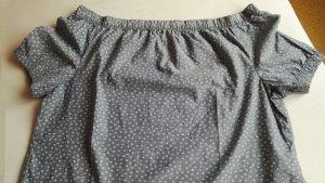 Canda Carmen Blouse slate-gray-pale blue cotton