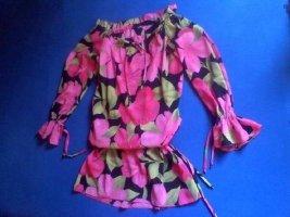 Carmen/Tunika Kleid mit floralen Muster und Tunnelzug
