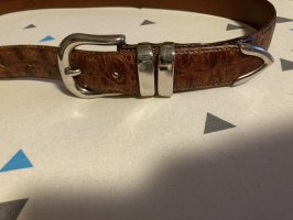 carnaval Leather Belt brown-silver-colored