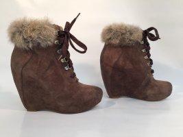 Carolinna Espinosa Designer-Wedges Keilabsatz-Stiefeletten mit Pelz Gr.37