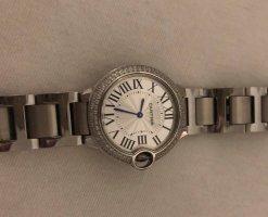 Cartier Horloge met metalen riempje zilver-blauw