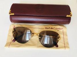 Cartier Gafas de sol ovaladas marrón-color oro