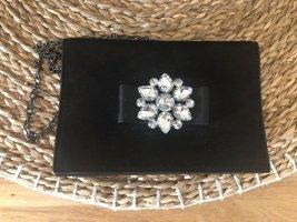 Carvela Kurt Geiger Tasche schwarz neu Abendtasche mit Strasssteinen Blume mit Kette