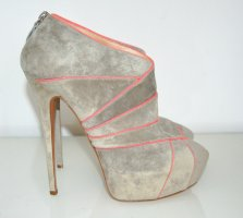Casadei Platform Booties light grey-neon pink suede