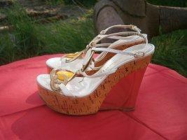 Casadei Platform High-Heeled Sandal cream
