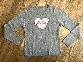 Cashmere Pullover mit Herz, grau, super weich, cosy