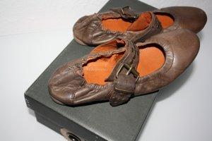 cashott Ballerina con cinturino cognac-arancione Pelle