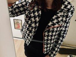 Casual Biker-Jacke mit Hahnentritt-Muster