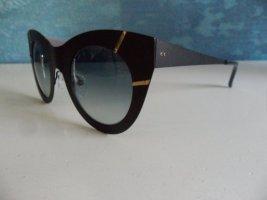 Cateye Sonnenbrille, schwarz/gold, Gläser mit Farbverlauf, beim Optiker gekauft, hoher Neupreis, NEU