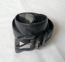 Cinturón de cuero marrón-negro-color plata Cuero