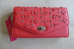 Catherine Malandrino Clutch Handtasche rot silber Blume Blüte neu