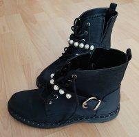 Catwalk Stiefeletten Stiefel Boots Winterstiefel Schnürboots Schuhe Perlen