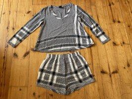 Cecilie Copenhagen langarmshirt+shorts Set, S/M, schwarz-weiß