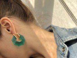 Celine Art Deco grüne Ohrringe geometrisch plexi lucite hoop creole octagonal Blogger