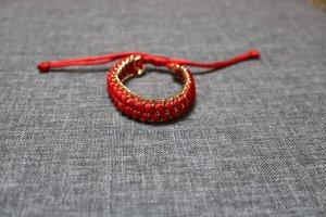 #Cham Cham Armband, #hellrot, #goldfarben, #Metall, #Textil