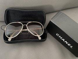 Chanel Gafas de piloto blanco Cuero