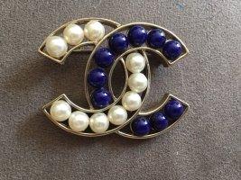 Chanel Brosche Perlmutt/ blau
