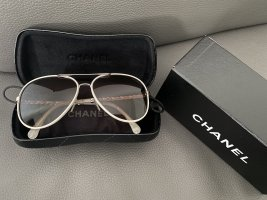 Chanel Aviator Glasses white leather