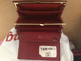 Chanel Portefeuille rouge foncé cuir