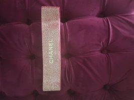 Chanel Cinturón de tela color rosa dorado-rojo oscuro