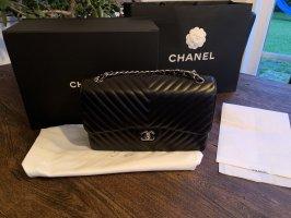 Chanel Jumbo Chevron Lammleder mit silberner Hardware-Original neu