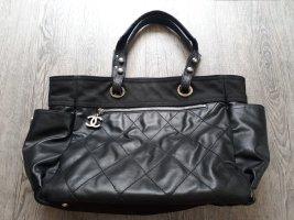 CHANEL Leinen Handtasche BIARRITZ Ledertasche SHOPPER schwarz Original