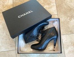 Chanel Plateauzool laarsjes zwart Leer