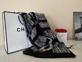 CHANEL Luxus XXL Schal aus Wolle & Kaschmir Schwarz - Weiß mit Logo, NEU & OVP!