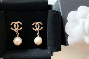 Chanel Pendientes de perlas amarillo limón-amarillo oscuro