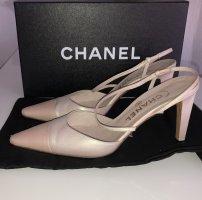 Chanel Pumps Gr. 37 Two Tone Slingpumps Rosé Creme Perlmutt