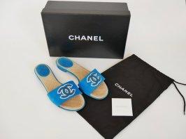 Chanel Sandalen Schlappen Schuhe Flats Logo  Türkis 37 BOX